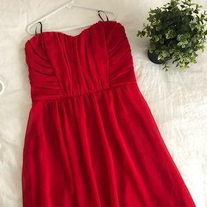 Forever 21 Knee Length Strapless Red Dress NWT